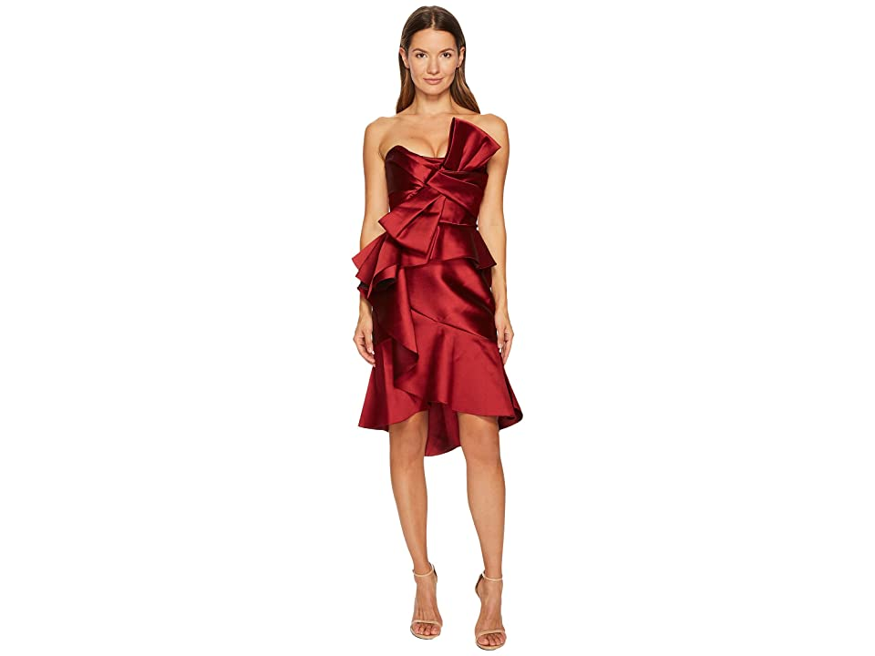 05a209a33ebea Marchesa Strapless Mikado Cocktail Bow Dress (Merlot) Women s Dress
