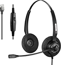 $30 » Arama Phone Headset with Microphone Noise Canceling & Mute Switch RJ9 Phone Headsets Compatible with Polycom Mitel MiVoice...