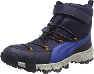 Puma Mixte Enfant Maka PURETEX V Jr Sneaker, Bleu (Peacoat-Jaffa Orange 01), 37 EU