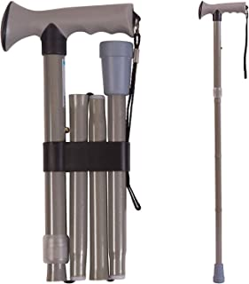 Folding Walking Cane Collapsible Walking Stick - Adjustable Medical Foldable Cane for Men and Women - Contoured Handle, Gray