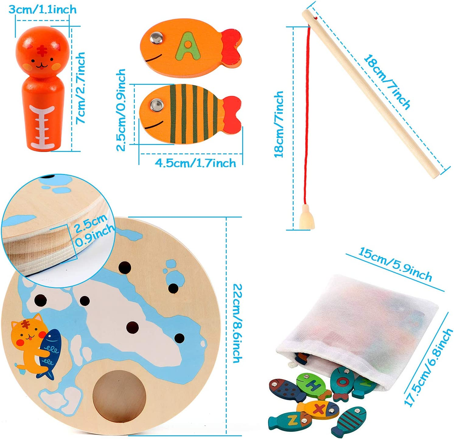 Lewo 2 In 1 Large Fishing Game Wooden Magnetic Alphabet Letter Fishing Toys for 3 4 5 Year Old Girls Boys Kids Toddles Christmas Birthday Learning Educational Toys with Magnet Poles