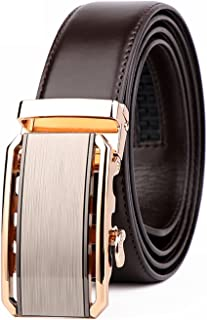 Belt Coffee for Men - Fashion Casual Business Alloy Buckle leather Belt - Automatic Sliding Buckle by Nansch
