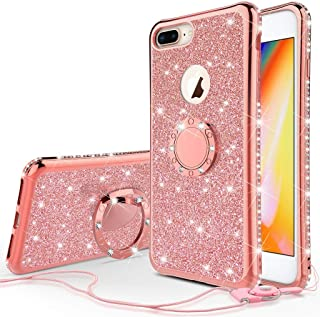 iPhone 8 Case,iPhone 7 Case,[COVERLAB] Cute Glitter Ring Kickstand,Bling Diamond Thin Soft Protective Sparkly Phone Cases Cover for Girls Women Compatible for Apple iPhone 7/8 - Rose Gold