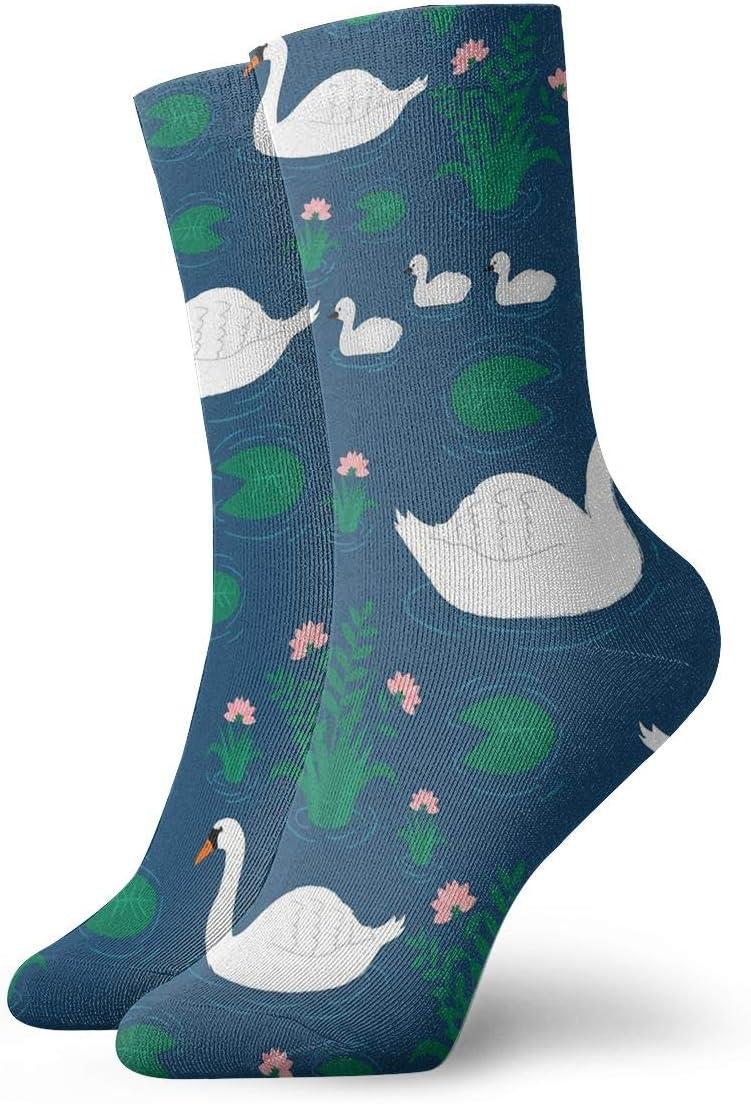 Unisex Casual White Swan Socks Moisture Wicking Athletic Crew Socks
