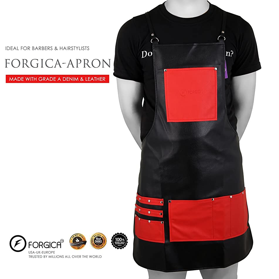 FORGICA Professional Leather Apron Hair Cutting Hairdressing Barber Apron Cape for Salon Hairstylist - Multi-use, Aprons For Women Adjustable with 8 pockets - Best Aprons For Men