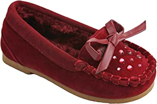 JJF Shoes Kids Girls Moccasin Butterfly Rhinestone Faux Soft Suede Fur Lined Loafer Slippers Flats