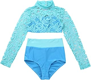 Kids Girls Two-Piece Ballet Dance Gymnastic Athletic Tracksuits Outfits Crop Tops with Dancing Briefs Bottoms Shorts