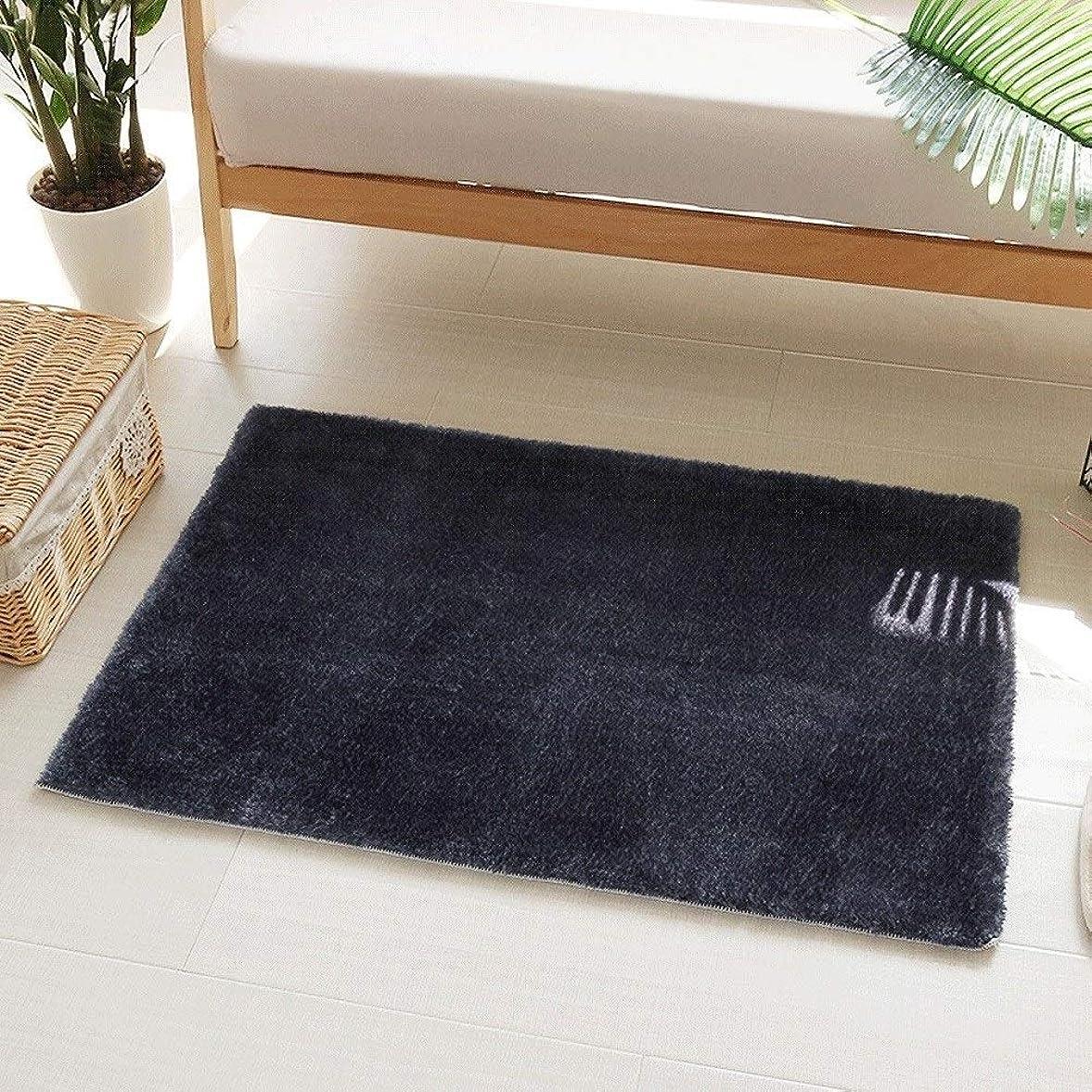 相互ミニチュア楽観的現代のミニマリストのバスルームのドアマットリビングルームのエリアラグ柔らかい敷物パッド滑り止め吸収マットマットカーペット Blingstars (Color : ブラック, Size : 45*70)