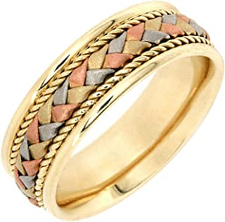 14K Tri Color Gold Braided Basket Weave Women's Comfort Fit Wedding Band (7.5mm)
