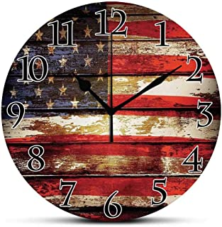 BCWAYGOD Silent Wall Clock,American Flag Decor,Us Symbolism Over Old Rusty Tones Weathered Vintage Social Plank Artwork Non Ticking Wall Clock/Desk Clock for Office Home Decor 9.5 inch