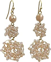 Abstract Glass Bead Wire Cluster Handmade Swing Dangle Boutique Style Earrings