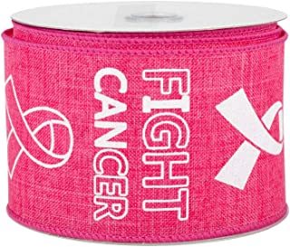 Fight Breast Cancer Wired Ribbon - 2 1/2 Inch x 10 Yards, Pink, Breast Cancer Awareness Month, Wreath, Rally, Race, Survivor Support, Cancer Sucks, October, Fundraiser, Decoration, Office, Gift Basket
