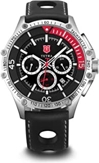 Tetra Men's Italian Leather Silver Special EditionTorino Velocita Motor Sport Dual-Time Swiss Luminous Watch with Professional Water Resistance of 330 Feet Luxury Gift Box Included