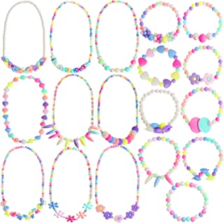 Outee 18 Pcs Girls Play Jewelry Princess Necklace Bracelet Toddler Costume Jewelry Set Jewelry Girls Play Dress Up Pretend Play Jewelry Kit Party Favors