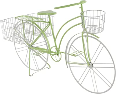 "Deco 79 36763 Eclectic Metal Bicycle Planter, 63"" L x 22"" W x 35"" H, Green"