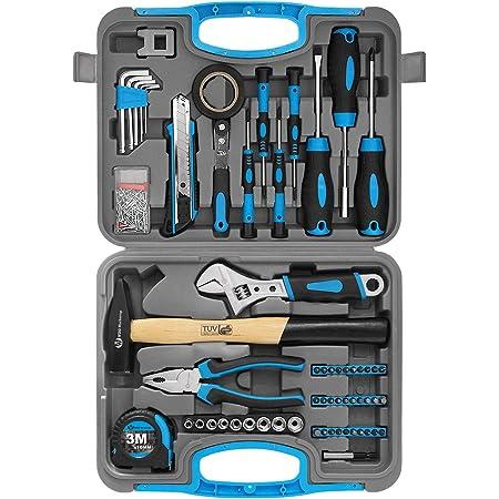 WZG Werkzeug Kit de 60 outils ménagers avec valise de rangement en plastique