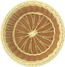 Hemoton Cesta de Vime Tecido à Mão Cesta de Frutas de Vime Cesta de Pão Organizador de Vegetais Cesta Redonda Decoração de...