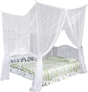 Just Relax Four Corner Post Elegant Mosquito Net Bed Canopy Set, White, Full/Queen/King, 86.6x78.7x98.4 Inches