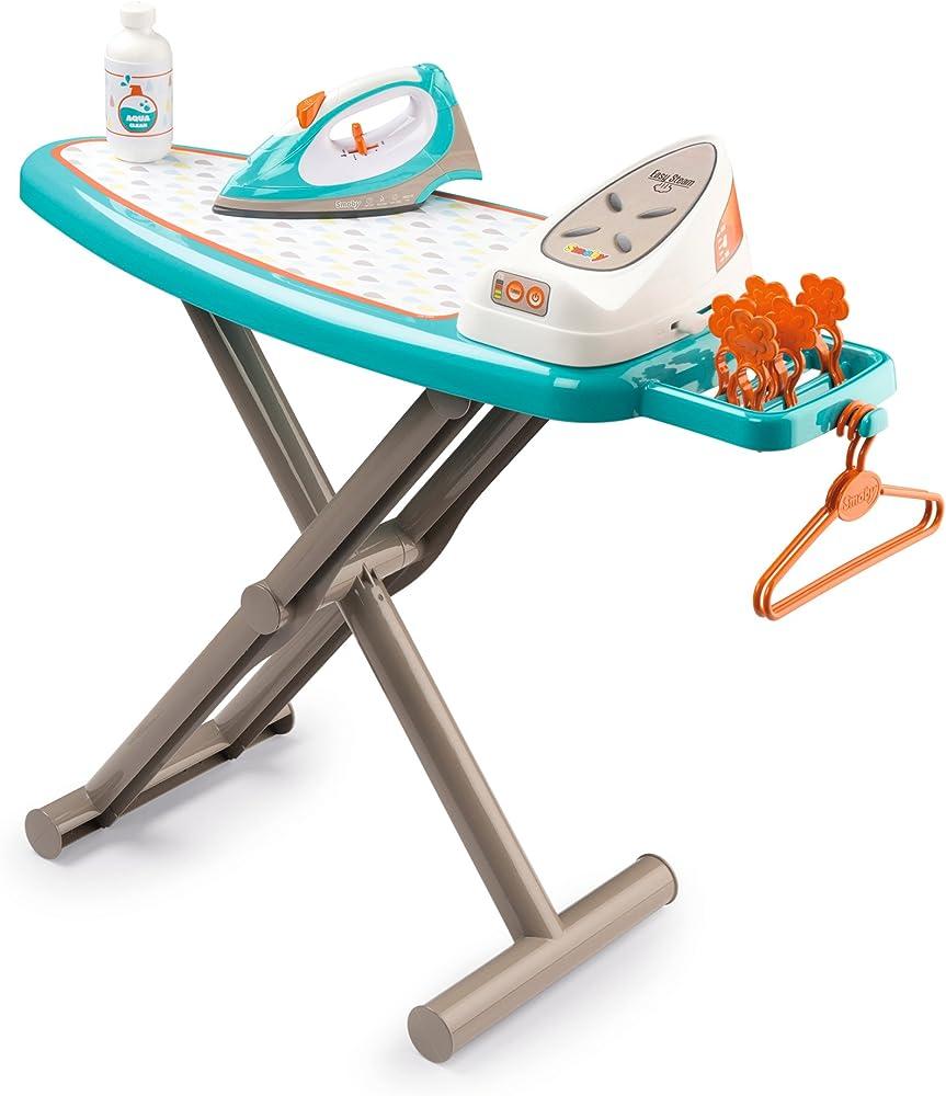 Asse da stiro pieghevole con ferro da stiro elettronico, simula il suono del vapore giocattolo per bambini 7600330118