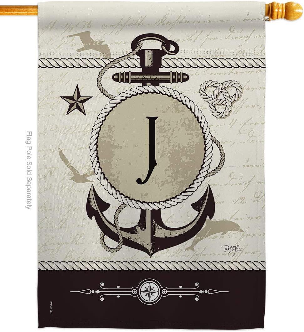 Breeze Decor Nautical Selling and selling J Initial Anch House Coastal Flag Fresno Mall Monogram