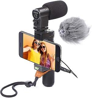 Movo Smartphone Video Rigg mit Stereo Mikrofon, Griff und Armband für iPhone 5, 5C, 5S, 6, 6S, 7, 8, X (Regular und Plus), Samsung Galaxy, Note und weitere
