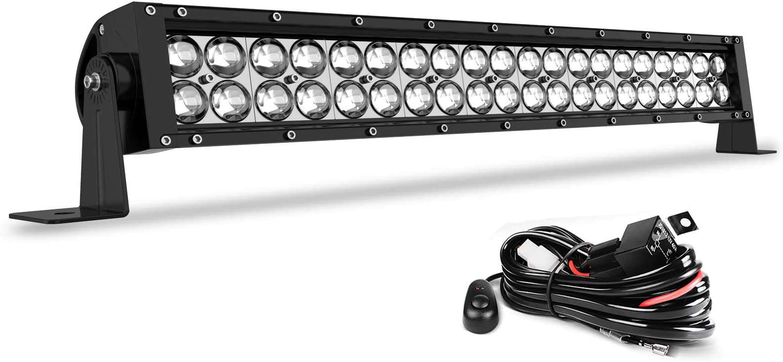 LED Light Bar 24 Inch Straight AUTO Work Light 4D 200W with 8ft Wiring Harness, 20000LM Offroad Driving Fog Lamp Marine Boating Light IP68 WATERPROOF Spot & Flood Combo Beam Light Bar