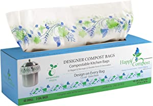 Compost Bin Bags For Kitchen Counter - 2X Thicker Than Most Compostable and Biodegradable Bags & 60 Bags for Disposable Compost Bags- 3-4 Gallon Trash Bags Kitchen Compost Bags Designer ASTM D6400 Approved