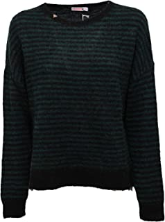 c8c867dcffe6da SUN 68 1484K Maglione Oversize Donna Green/Black Mohair/Wool Sweater Woman