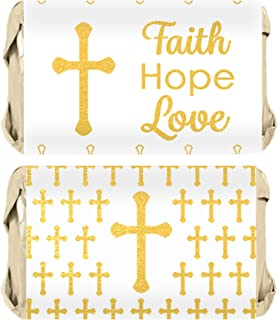 Baptism, Christening, First Communion Party Favors - Cross Mini Candy Bar Wrappers - 45 Stickers