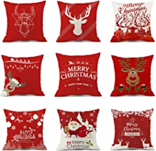 Excellent for Living Room and Bedroom 18 Inch X18 Inch Cushion Covers Set Of 9 Red Christmas Series (Size : 9pcs45*45cm)