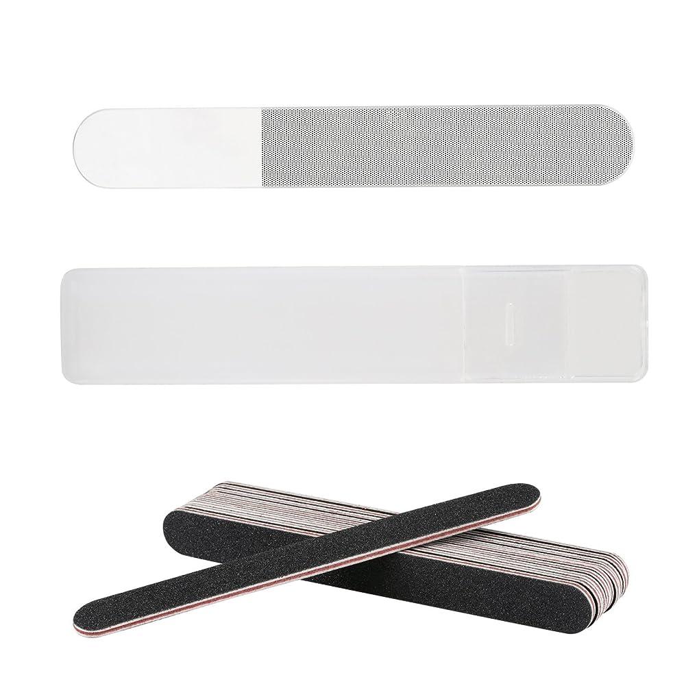 つまらない脳作業LIHAO 爪やすり ガラス製 爪磨き ネイルシャイナー ネイルファイル ケース付き 11個セット
