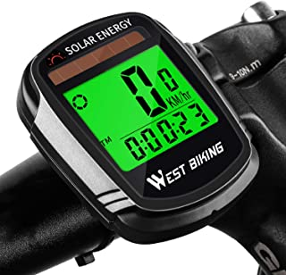 ICOCOPRO Bike Computer with Solar Energy Bicycle Speedometer and Odometer Wireless Waterproof Cycling Computer LCD Backlig...