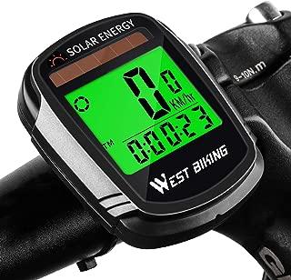 自転車歩数計ソーラーパワースピードメーター、自転車ワイヤレス防水サイクリングコンピュータ、LCD ディスプレイ付きバイクアクセサリー自動オン/オフモーションセンサー & マルチファンクション