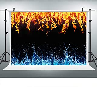 Ice fire Backdrops for Photography, 9x6FT, Artistic Blue Water Red Flame Backgrounds,Themed Party Photo Booth Studio Props LYLU155