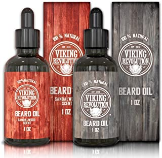 Viking Revolution Beard Oil Conditioner- 2 Scent Pack Sandalwood and Unscented - All Natural Beard & Mustache Treatment with Organic Argan & Jojoba Oils – Softens, Smooths & Strengthens Beard Growth