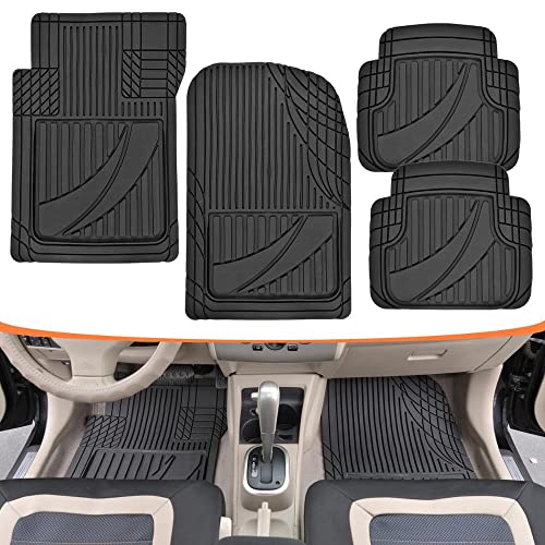 Motor Trend MT-794-BK FlexTough Advanced Performance Mats - 4pc HD Rubber Floor