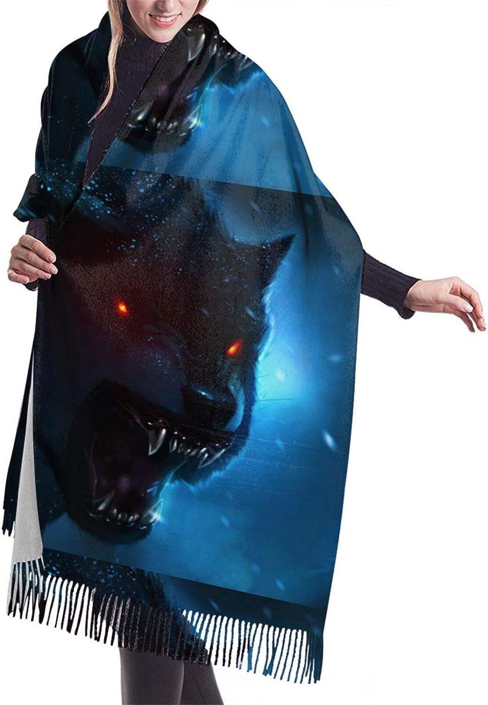 Fierce Wolfs Cashmere Feel Scarf Lightweight Soft Scarfs For Boys Girls Creative Warm Cold Weather Blanket Scarf