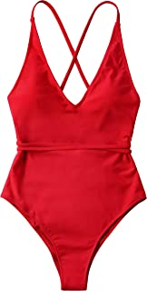 Monokini Swimsuits for Women Deep V Spaghetti Straps Tie Back Cross Cutout Cheeky One Piece Bathing Suit