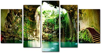 Wall Art Decor Poster Painting On Canvas Print Pictures 5 Pieces Fantastic Ik-Kil Cenote Chichen Itza Mexico Landscape Cave Framed Picture for Home Decoration Living Room Artwork