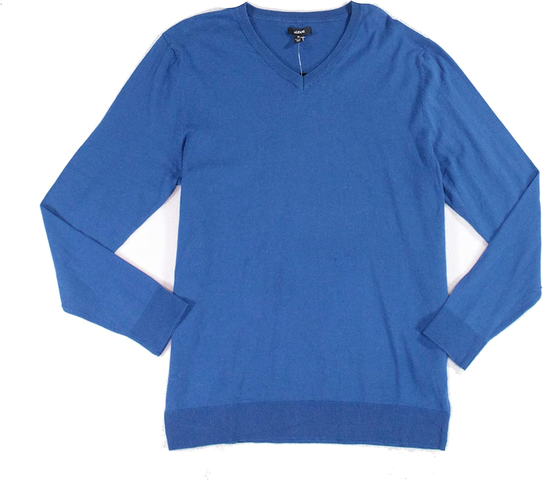 Alfani Mens Sweater Acapulco V-Neck Solid Knit Pullover Blue XL