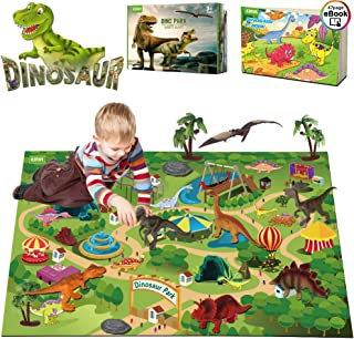 EIAIA Dinosaur Toys Activity Play Mat - 9 Realistic Dinosaur Figures Playset to Create a Dino World, Preschool Educational Toy for Age 3 4 5 6 Year Old Boys, Best Toy Gift for Kids Toddlers Girls