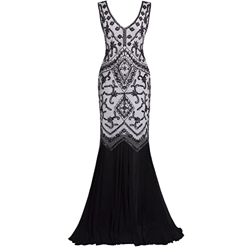 fcc760dcbc113 Vijiv Womens 1920s Inspired Cap Sleeve Beaded Sequin Gatsby Long Evening  Prom Dress