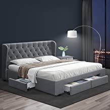 King Bed Frame, Artiss Mila Bed with Storage Drawers, Grey