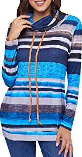 Fargeous Women's Casual Striped Color Block Cowl Neck Drawstring Pullover Sweatshirts with Pockets