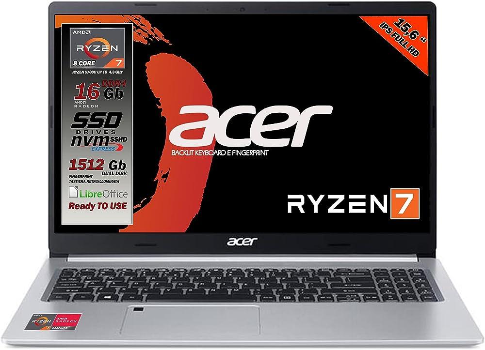 Acer notebook pc portatile cpu ryzen 7 8 core ram 16gb ssd m.2 512gb piu` hd 1tb display 15 6