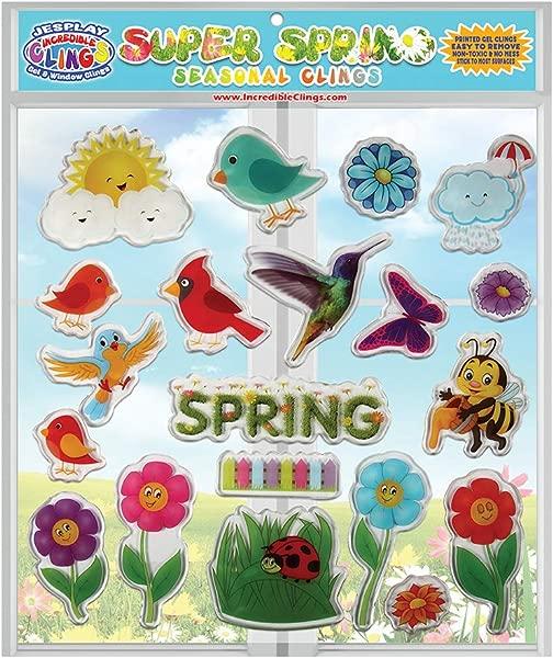 JesPlay 春季季节春季厚凝胶贴令人难以置信的可重复使用的窗口贴儿童和成人令人难以置信的凝胶贴花季节性鸟类蜜蜂花草蝴蝶雨