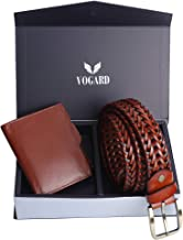 VOGARD Genuine Leather Braided Belt and RFID Protected Genuine Leather Wallet Combo (2401Tan)