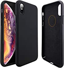 Molzar [Slim Fit Series] iPhone Xs Case, iPhone X Case, Built-in Metal Plate for Magnetic Car Phone Holder, Support Qi Wireless Charging, Compatible with Apple iPhone Xs/X, Black