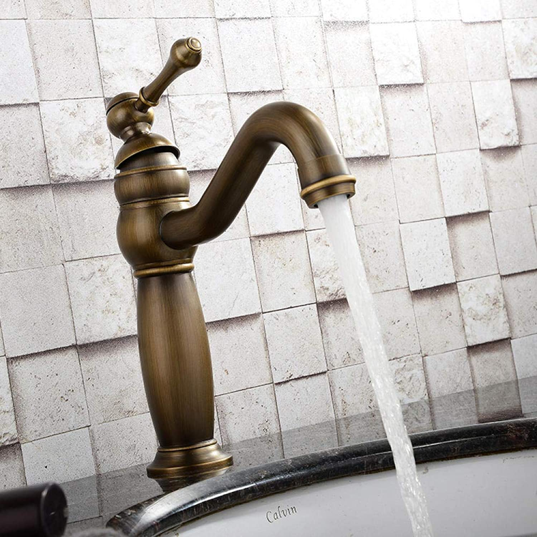 Messing Chrom Retro warmes und kaltes Wasser Einhand-Waschtischmischer Gold Kupfer Wasserhahn Antik Becken