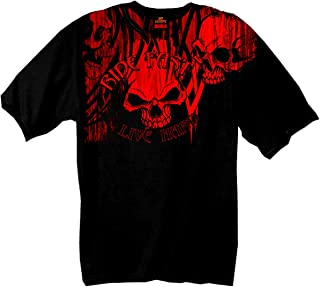 Hot Leathers Over The Top Skull 100% Cotton Double Sided Printed Biker T-Shirt